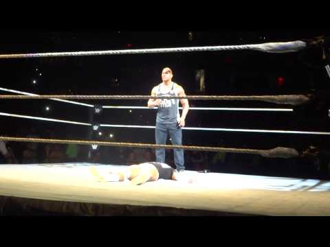 The Rock and Bo Dallas wwe live event Boston Mass
