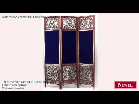 Asian Antique 3 Fold Indian & Southeast Asian Screens for