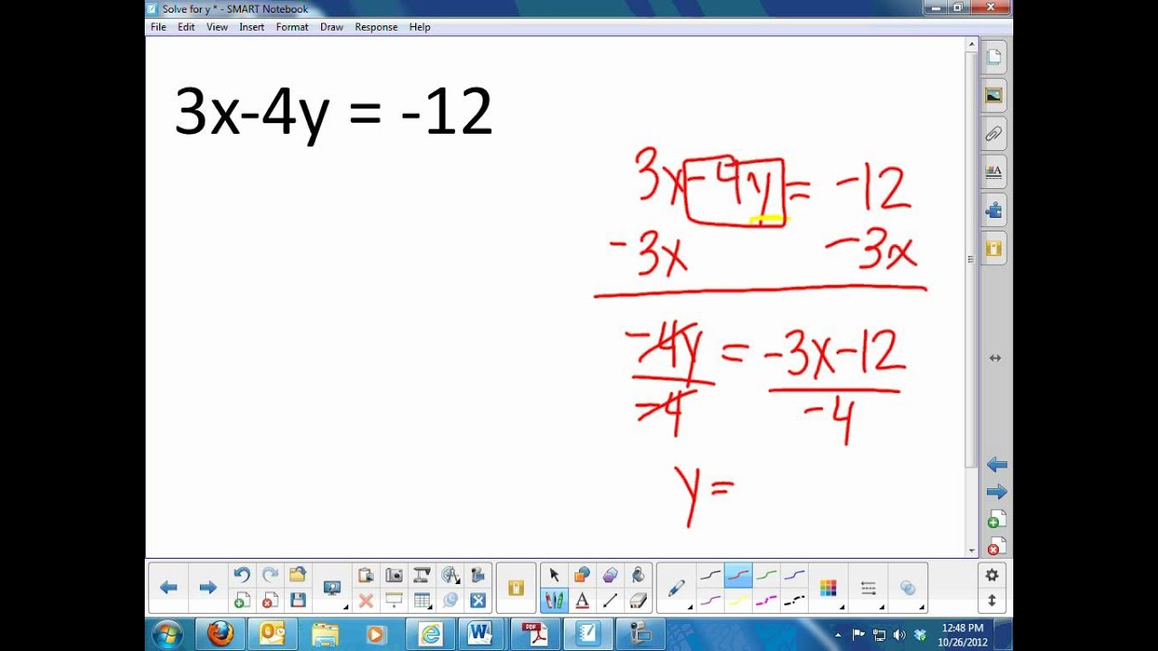 Solve For Y Video  Youtube