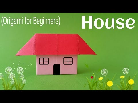 """How to fold / make an easy Paper """"Standing House"""" - Origami Tutorial for Beginners"""