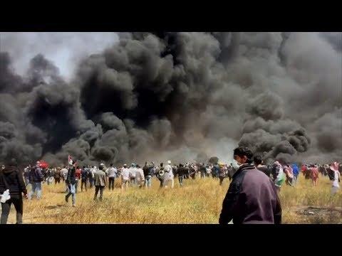 Violence at Israel-Gaza border as Palestinian protests continue | ITV News