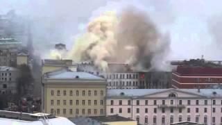 بالفيديو| حريق وزراة الدفاع الروسية يلتهم نحو 3500 متر مربع من المبنى