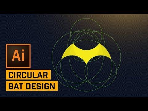 Bat Logo Design with Circular Grid & Golden Ratio in Adobe Illustrator