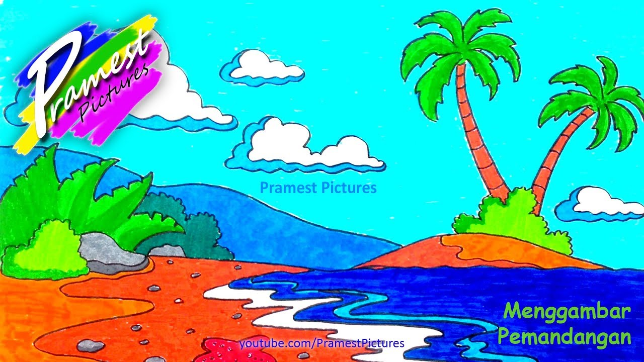 How To Draw Natural Scenery And Coloring For Children