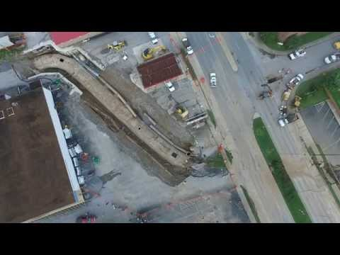 My Drone Footage of Road Collapse and Flume Collapse in Shelbyville, TN August 2015