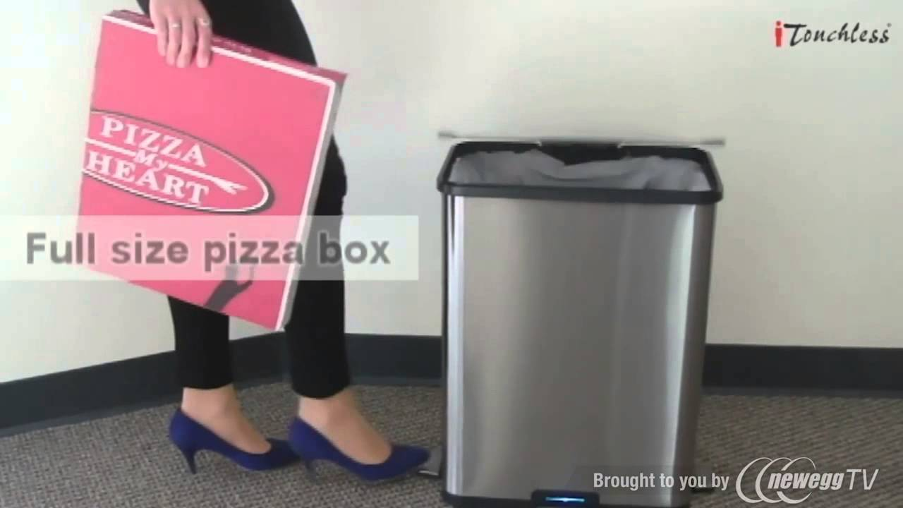itouchless 13 gallon stainless steel stepsensor trash can product tour youtube