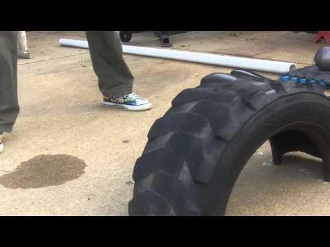 SledgeHammer training with StrongerGrip sledge hammer half tire solution