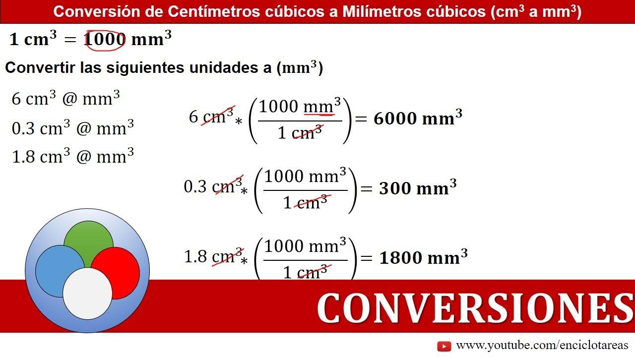 Centímetros Cúbicos A Milimetros Cúbicos Cm3 A Mm3 Conversiones Youtube