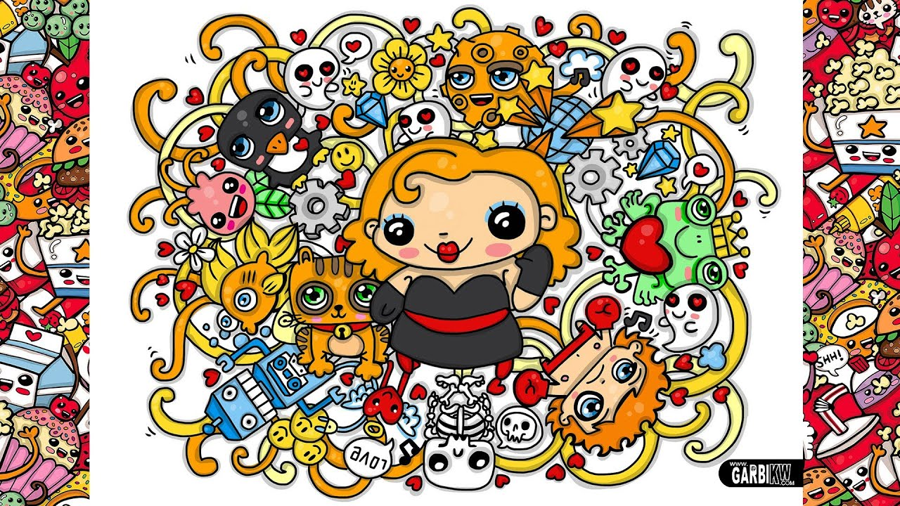Colouring A Kawaii Pin Up In A Cute Graffiti By Garbi Kw