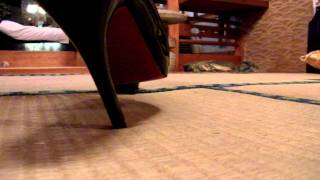 make a hole in tatami floor with sexy pin heels