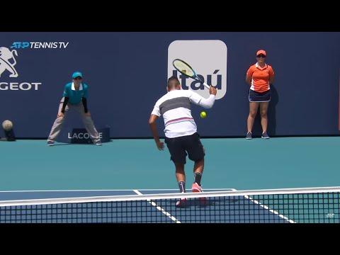 Nick Kyrgios hits no-look shot & tweener in one rally!   Miami Open 2019
