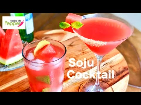 🍉 Watermelon Soju Cocktails 2 Ways: 🍉 Martini & Club Soda (Subak Soju 수박 소주 칵테일) - Chamisul Fresh
