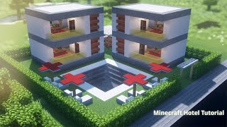 Minecraft mini hotel with pool and barbecue area