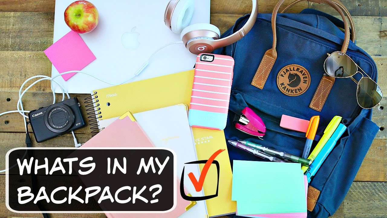 Image result for whats in my backpack