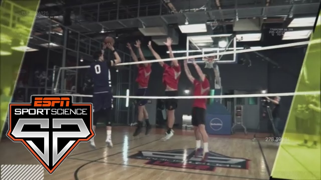 Zach Collins Tries Shooting Against Volleyball Blockers Sport Science Espn Youtube