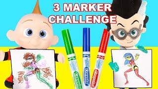 3 Marker Challenge with Jack Jack from Incredibles 2 and Romeo from PJ Masks