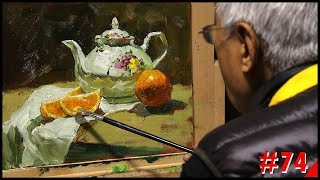 #74 Still life Painting teapot and orange by Fu Dali