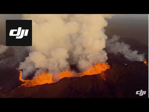 Drone video captures close-up of erupting volcano