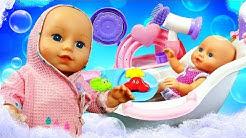 Baby born Annabell ja kylpyamme. Vauvanuken aamurutiinit. Pipsa Possu lelut.