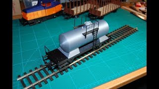 3D-printed model train, scale 0, tank wagon