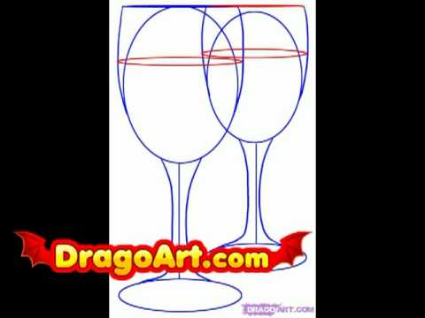 How to draw wine glasses step by step youtube for How to draw on wine glasses