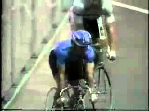 Indoor bicycle racers come to complete stop mid race! (Old Olympic video)