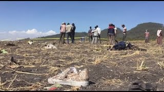 Scene of the Ethiopian Airline plane crash South East of Addis Ababa