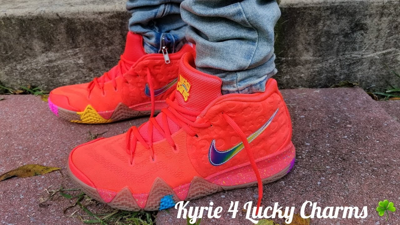42472bfe4fc9af Nike Kyrie 4 Lucky Charms On Feet Review!!! Cereal Pack - YouTube