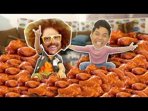 200 HOTWINGS in 10 MIN CHALLENGE! (Ft. REDFOO & the PARTY ROCK CREW)