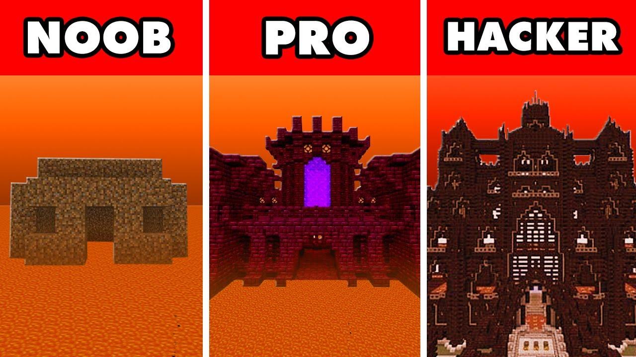 Noob vs. Pro vs. Hacker : NETHER SAFE HOUSE BUILD CHALLENGE! In Minecraft Animation