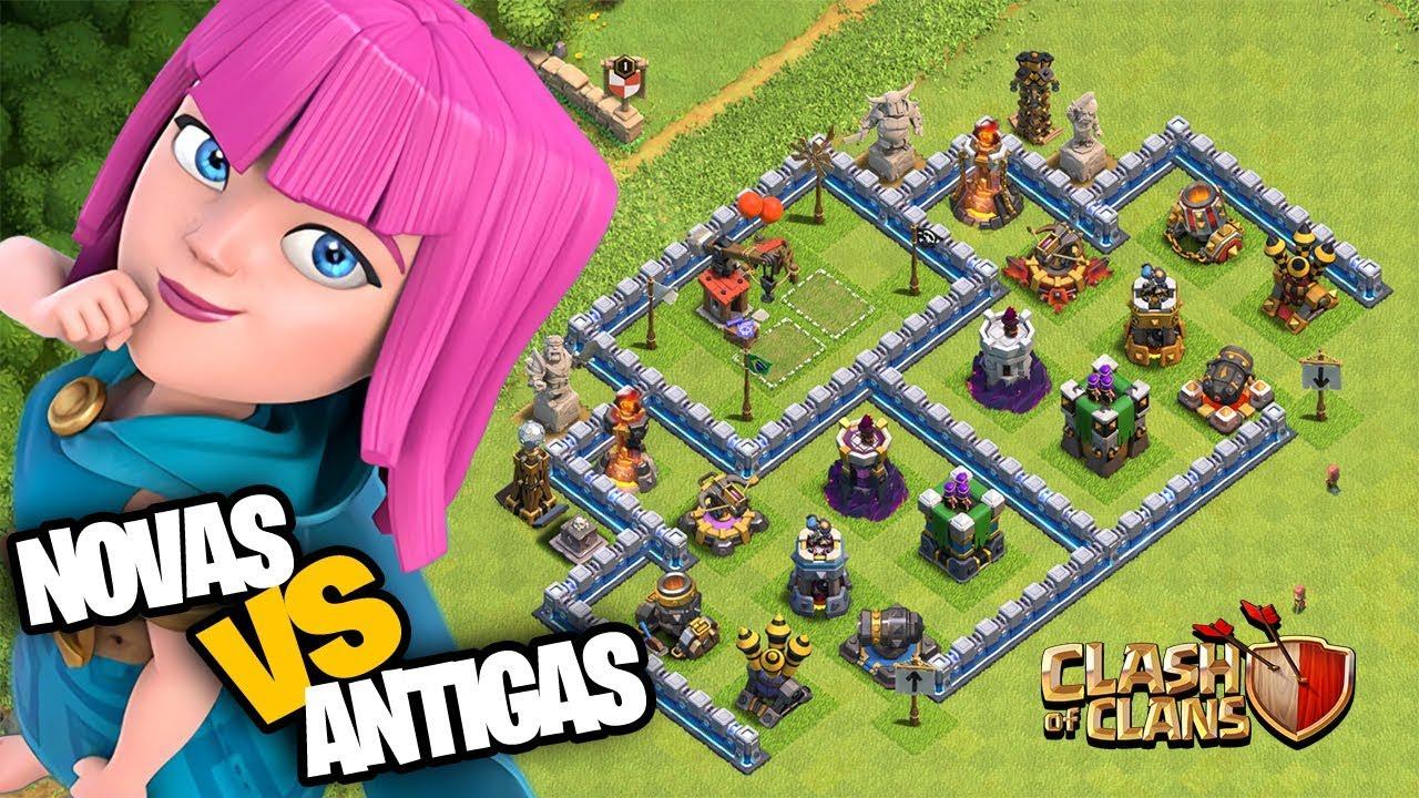 DEFESAS NOVAS VS  DEFESAS ANTIGAS! CLASH OF CLANS TH12 UPDATE! ATUALIZAÇÃO CV12