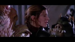 Black Widow's reaction to Jabba licks Leia