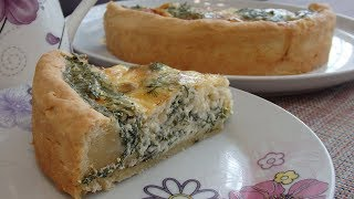 Открытый пирог с сыром и зеленью. Сытно и вкусно.