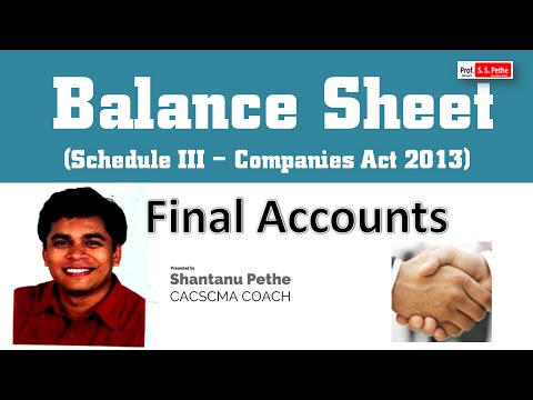 Final Accounts of Companies = Format of Balance Sheet = Schedule III of Companies Act 2013