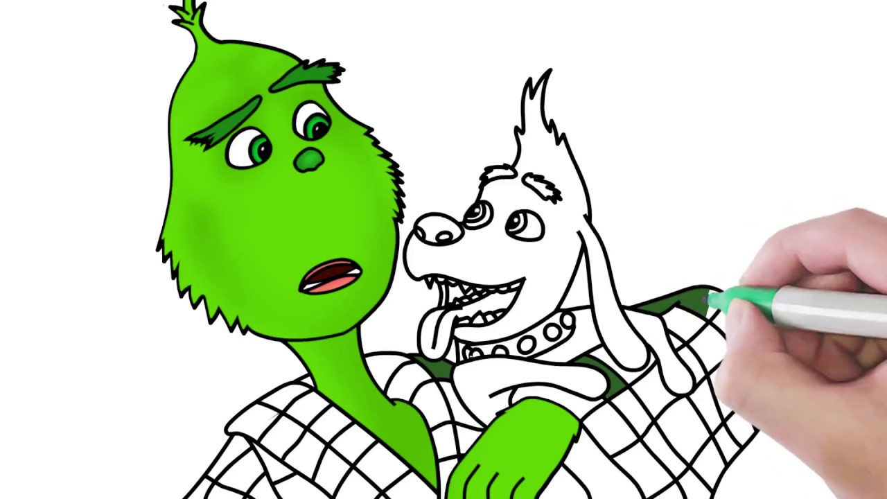How to Draw Grinch and Max Coloring Pages for Kids - YouTube