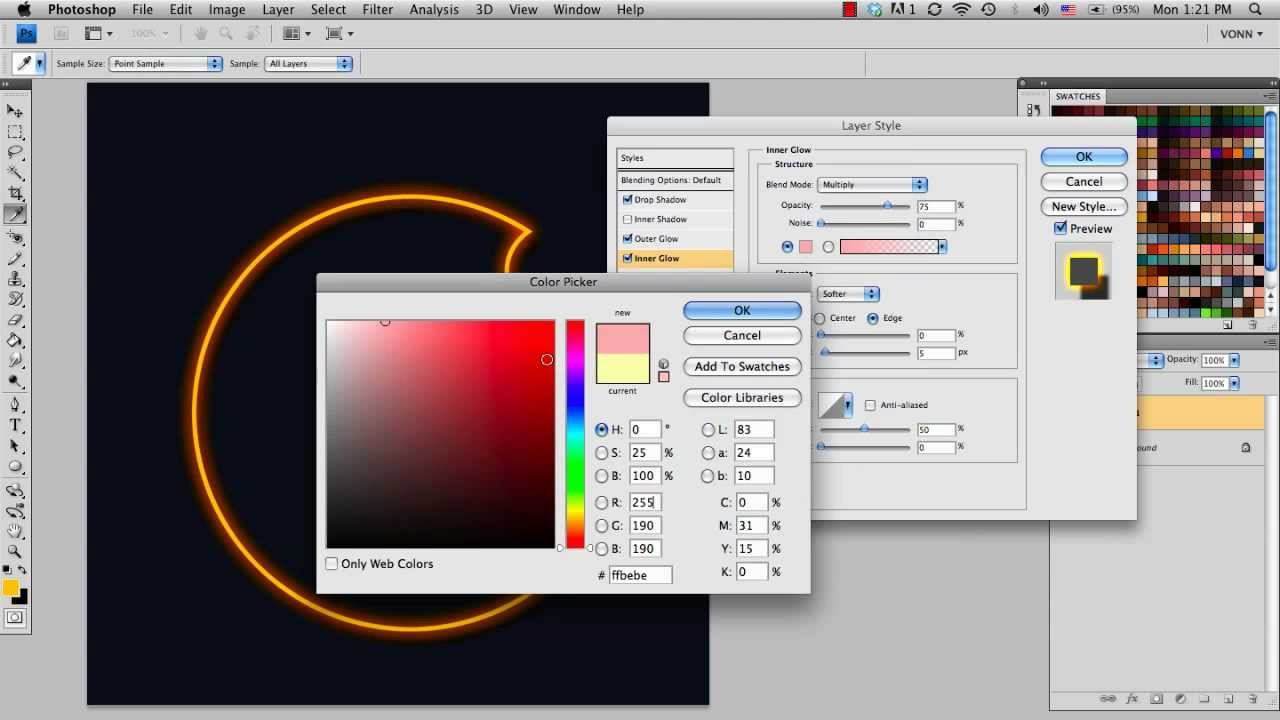 how to add glow in photoshop