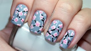 Cherry Blossom Sakura Tree Nail Art Design | Дизайн ногтей Сакура
