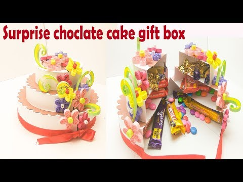 how to make surprise chocolate cake gift box | paper cake for explosion box | DIY birthday cake
