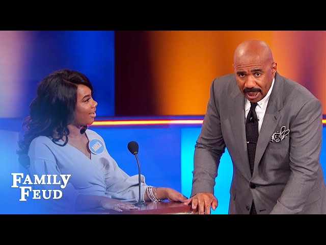 Ouch! He got his beard stuck in this! | Family Feud