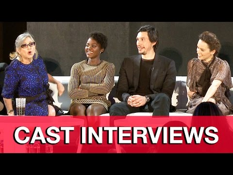 STAR WARS THE FORCE AWAKENS Cast Interviews - Carrie Fisher, Daisy Ridley, Adam Driver, JJ Abrams
