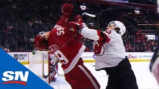 Bertuzzi Gets Cross-Checked In The Face Then Throws His Gloves At PK Subban