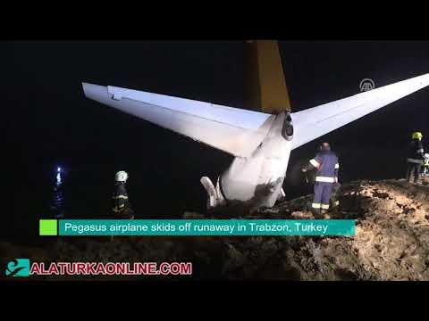 Pegasus airplane skids off runaway in Trabzon, Turkey