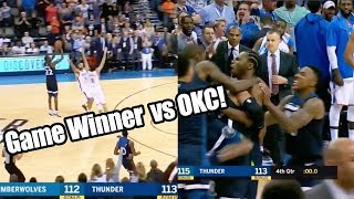 Andrew Wiggins INSANE Game Winning Buzzer Beater! OKC vs Twolves 2017 NBA Highlights Reaction