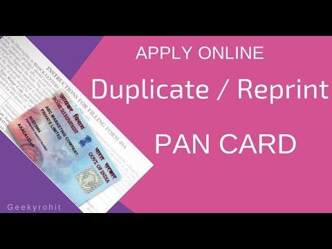 Duplicate/Reprint PAN CARD Apply Online