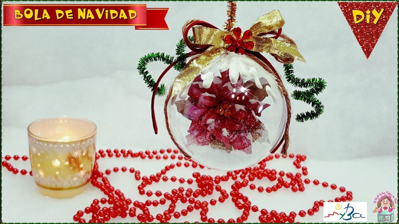 Diy Bola De Navidad Transparente Con Poinsetia Tecnica Papel 3d O - Bolas-de-navidad-transparentes