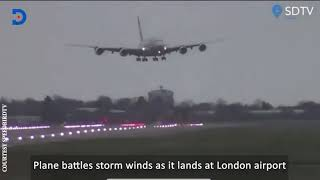 Plane lands sideways as it battles strong winds in London