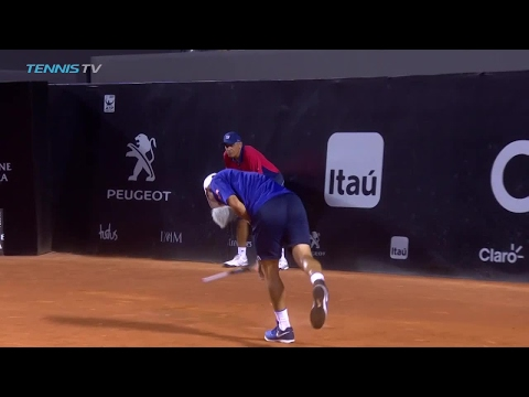 Kei Nishikori Racquet Smash in Rio!