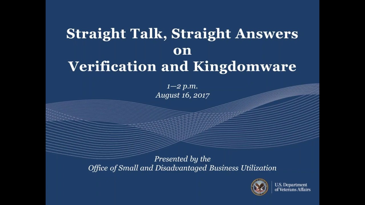 Va osdbu town hall straight talk straight answers on va osdbu town hall straight talk straight answers on verification and kingdomware xflitez Gallery