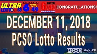 PCSO Lotto Results Today December 11, 2018 (6/58, 6/49, 6/42, 6D, Swertres, STL & EZ2)