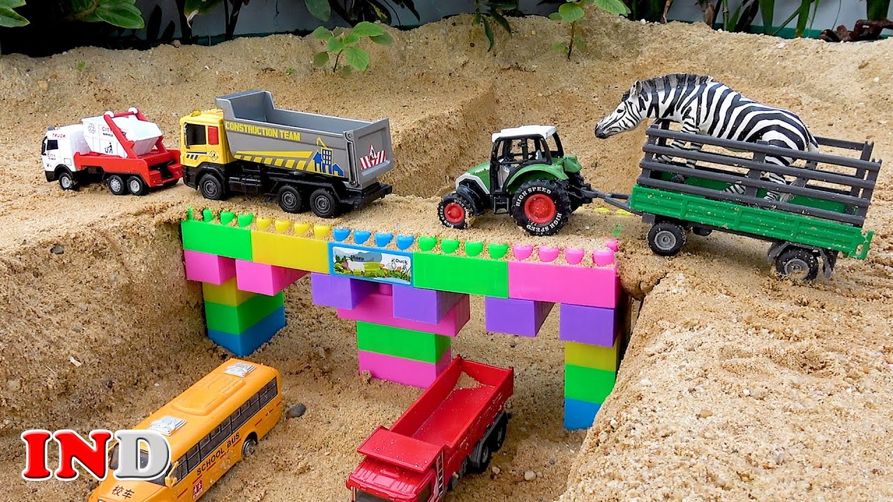Bangun Mainan Jembatan Balok Mobil Truk Excavator Traktor Mainan Anak
